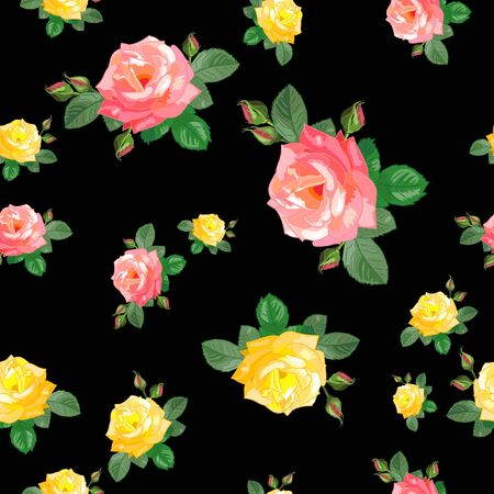 seamless pattern with pink,yellow roses