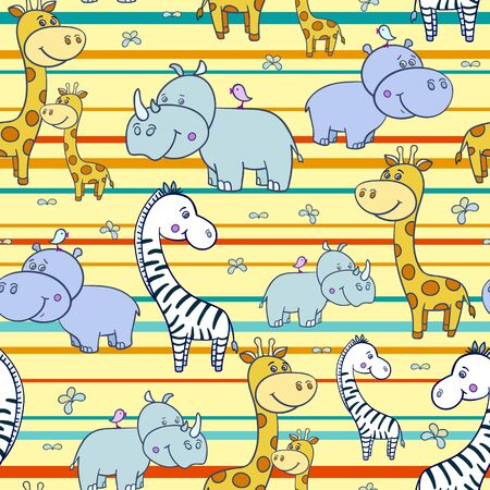 pattern with zebras and Hippo,giraffe4-01