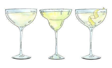coupe: hand drawn set of watercolor cocktails Margarita Vesper on white background Stock Photo