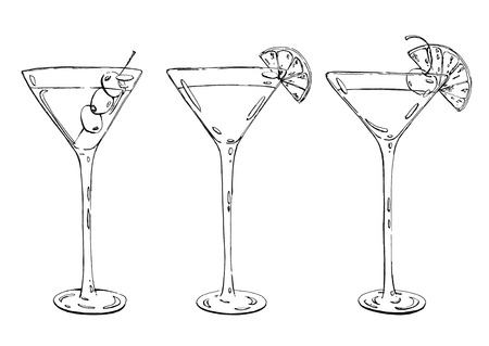 sidecar: hand drawn graphic cocktail Martini Whiskey sour Sidecar Corpse Reviver on white background
