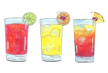 hand drawn set of graphic watercolor cocktails Sea Breeze Harvey Wallbanger Planters Punch on white background