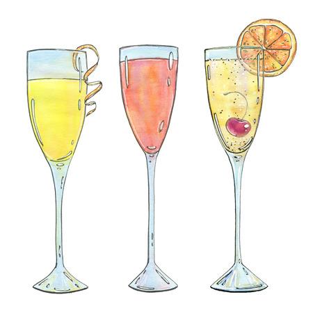 手で白い背景の水彩画カクテル ミモザ ベリーニ シャンパン カクテルのセットを描画 写真素材