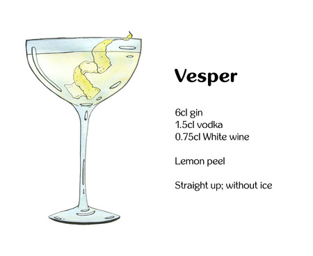 coupe: hand drawn watercolor cocktail Vesper on white background