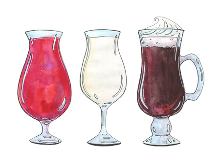 colada: hand drawn set of watercolor cocktails Singapore Sling Pina colada Irish coffee on white background