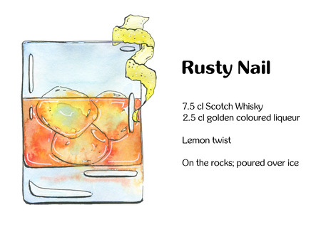 scotch whisky: hand drawn watercolor cocktail Rusty Nail on white background