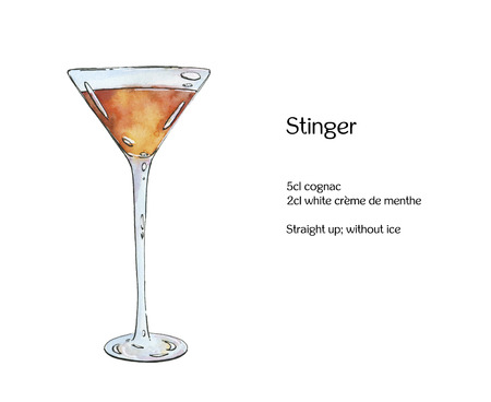 stinger: hand drawn watercolor cocktail Stinger on white background