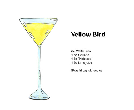 sec: hand drawn watercolor cocktail Yellow Bird on white background Stock Photo