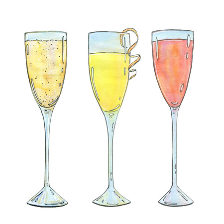 hand drawn set of watercolor cocktails Mimosa Bellini Champagne cocktail French 75 on white background Stock Photo