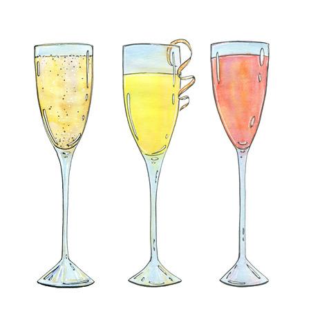 Hand gezeichnet Satz von Aquarell Cocktails Mimosa Bellini Champagner Cocktail Französisch 75 auf weißem Hintergrund