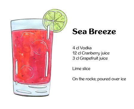 hand getekende aquarel cocktail Sea Breeze op een witte achtergrond Stockfoto
