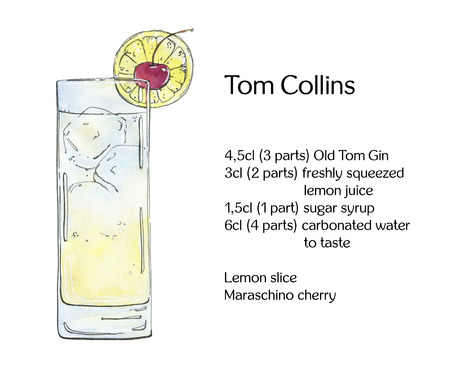tom collins: hand drawn watercolor cocktail Tom Collins on white background Stock Photo