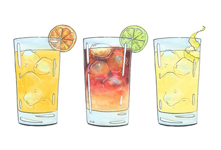 hand drawn set of graphic watercolor cocktails Screwdriver Dark N Stormy Horses Neck on white background Фото со стока