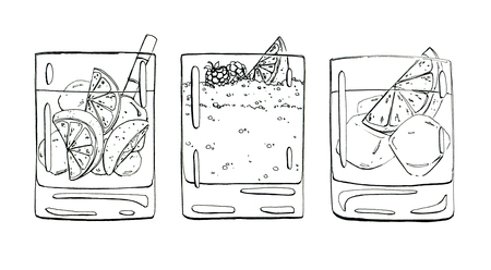 bramble: hand drawn set of graphic cocktails on white background