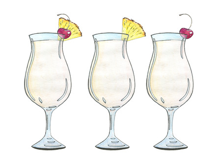 colada: hand drawn set of watercolor cocktails Pina colada  on white background Stock Photo