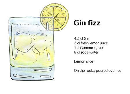 fizz: hand drawn watercolor cocktail Gin fizz on white background
