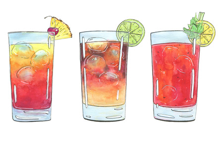 planters: hand drawn set of watercolor cocktails Planters Punch Dark N Stormy Bloody Mary on white background Stock Photo