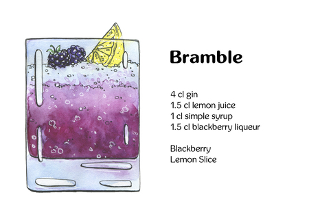 bramble: hand drawn watercolor cocktail Bramble on white background
