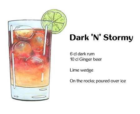 highball: hand drawn watercolor cocktail Dark N Stormy on white background