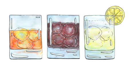 gin: hand drawn set of watercolor cocktails Godfather French Connection Black Russian Gin fizz on white background