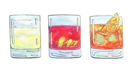 hand getrokken set aquarel cocktails op witte achtergrond