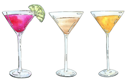 hand drawn set of watercolor cocktails Alexander Between the Sheets on white background