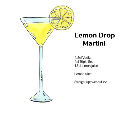 hand getekend aquarel cocktail Lemon Drop Martini op witte achtergrond