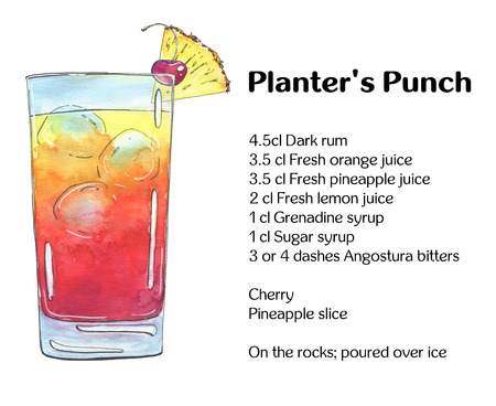 planters: hand drawn watercolor cocktail Planters Punch on white background Stock Photo