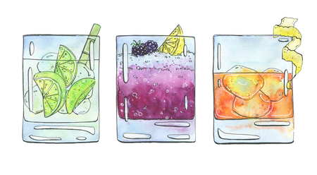 rusty: hand drawn set of watercolor cocktails Caipirinha Bramble Rusty Nail on white background
