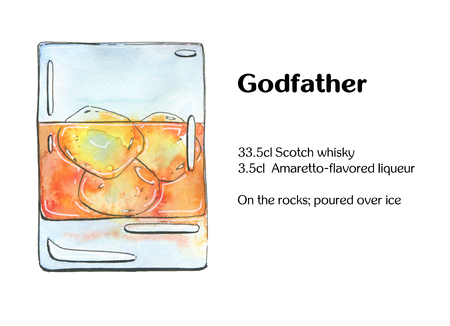 godfather: hand drawn watercolor cocktail Godfather  on white background Stock Photo