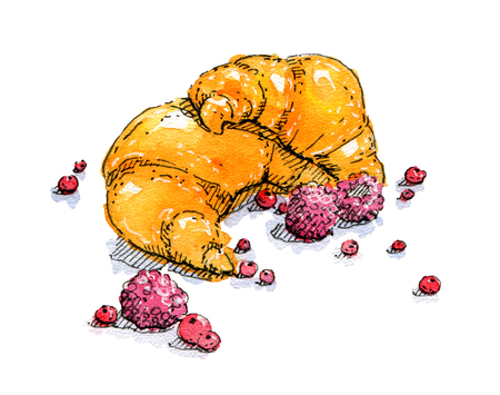 hand drawn watercolor croissant on white background