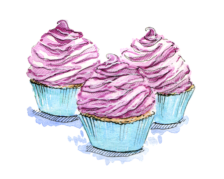 hand drawn set of watercolor cupcakes on white background Stock Photo