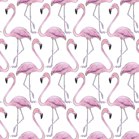 Hand drawn painted seamless pattern of watercolor sketch of isolated birds on white background Stock Photo