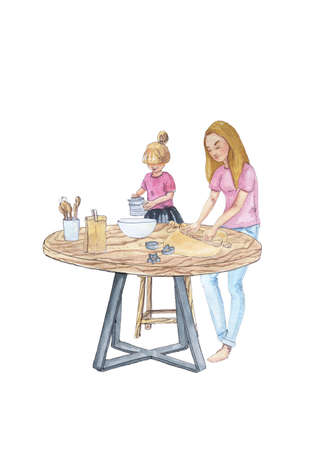 Happy cooking is a collection of high-quality hand-drawn watercolor and line art illustrations of happy family baking and cooking at home kitchen.