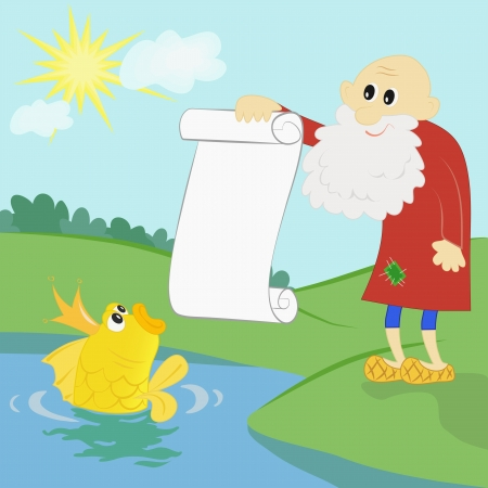 poured: old man shows to a goldfish the list of desires