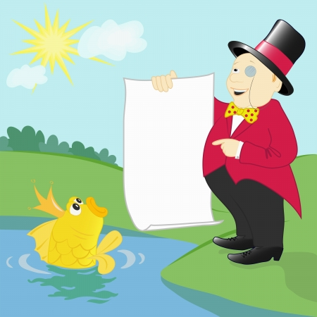 millionaire and a goldfish Stock Vector - 17929064