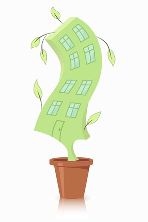 grew: house in a flowerpot on a white background Illustration