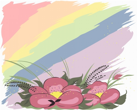 iridescent: Flowers on an iridescent background Illustration