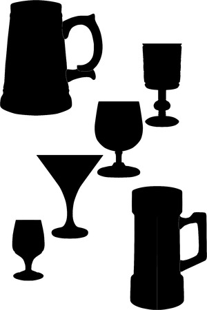 silhouette glasses, silhouette glasses, silhouette Fougeres, the silhouette of a beer mug, the silhouettes of the vessels, the black silhouettes of the Vector