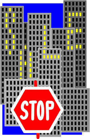 red light district: stop sign, sale of apartments, a symbol of the sale, selling a home, many high-rise, high-rise district, a great city, lots of windows, the sign for sale, yellow light, burn windows