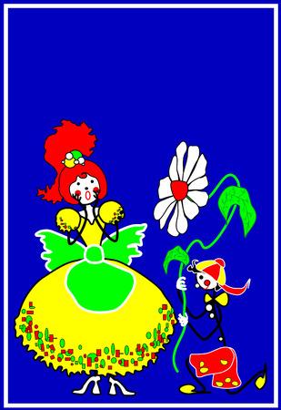 love and friendship: Congratulations, illustration, postcard, flower, daisy, gift, boy, girl, boy, girl, man, woman, love, friendship, valentine, day, love, love, 14, February