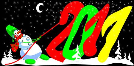 Snowman pulls year 2011 Vector