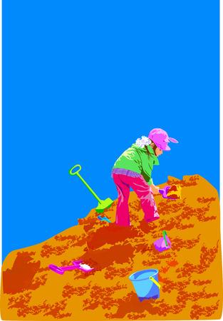 sandpit: conocida para los ni�os, una chica de goteo, tocando una ni�a, la arena de la monta�a, tocando el ni�o, palas y baldes, verano lleg�, subi� a la colina, caminando por la calle, un cubo de agua azul, una chaqueta verde, un sombrero rosado