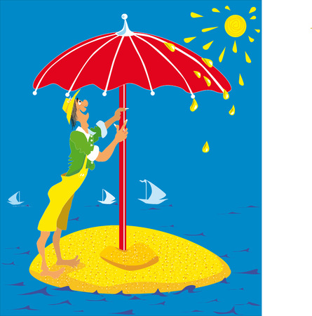 scorching: man on the island, put an umbrella, sand island, a man on the beach, the sun is shining, the yachts in the distance, the red umbrella, hot summer, people on vacation, yellow sand, scorching rays krvsivye shorts, blue sea, calm water, small waves, hat on h