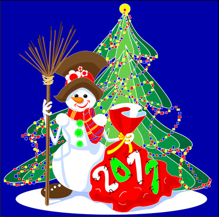 2011 stitched bag with gifts, snowman stood there with his broom, colorful garland, Christmas comes, the new year, winter holiday, decorated Christmas tree, sewn figures Vector