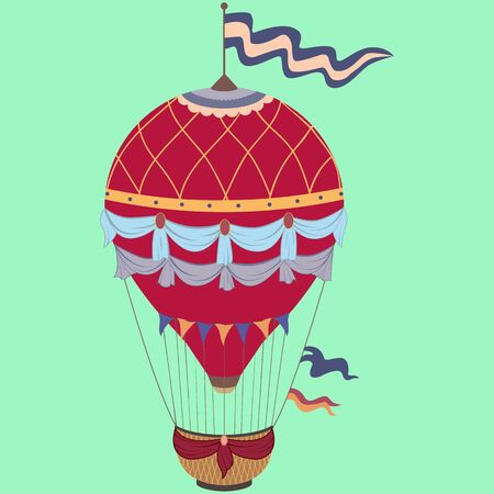 Retro colored hot air balloon with the banner and ladder on vintage beige background.