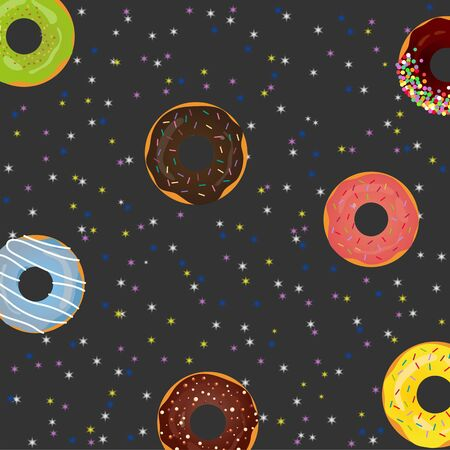 Sweet donuts with glaze in space adventure on a black background in the sky with stars