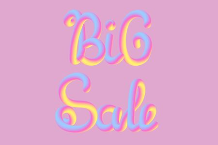 Bright banner with 3D cartoon sweet text. Neon candy letters. Vector illustration concept.
