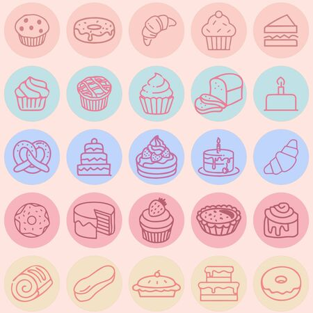 Multicolored Cakes Icon Set of hand drawing sweets, vector sketches, bread, cheesecake, roll,  donut,  overwrapped on a colorful background