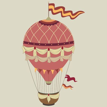 Retro color hot air balloon on vintage beige background.Vector illustration concept.