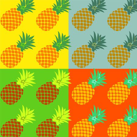 Colorful pattern  pineapples on a exotic background in pop-art style. Poster or postcard design, template for menu in cafe. Vector eps10.